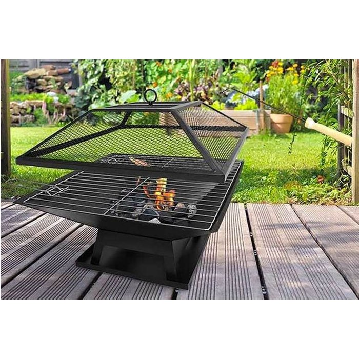 Save 46% - £29 instead of £73.96 (from Direct2Publik) for a square fire pit with BBQ grill - save 61%
