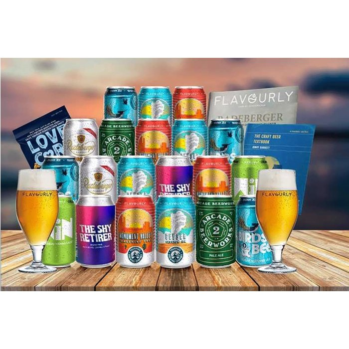 Save 65% - £24 instead of £67.40 for a craft beer hamper including 20 beers, two beer glasses, a beer book, snack and magazine from Flavourly