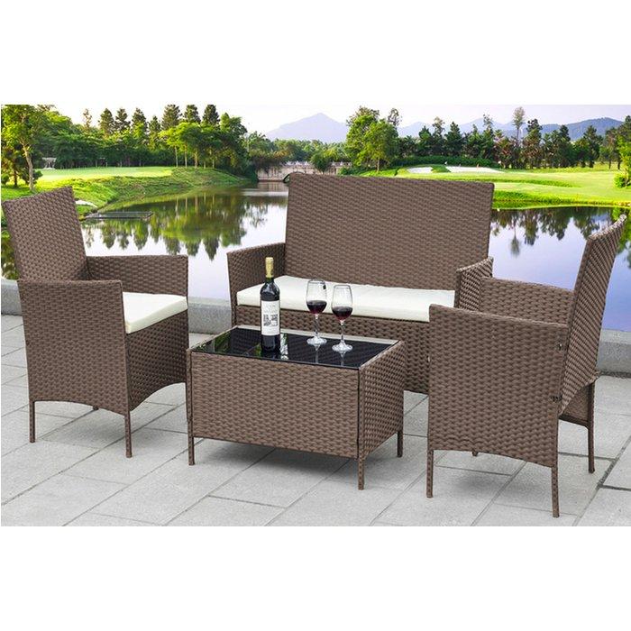 4-Piece Rattan Garden Furniture Set - Black, Brown or Grey