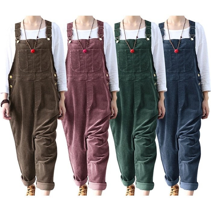 Save 38% - Women's Corduroy Dungarees - Red, Green, Blue or Coffee!