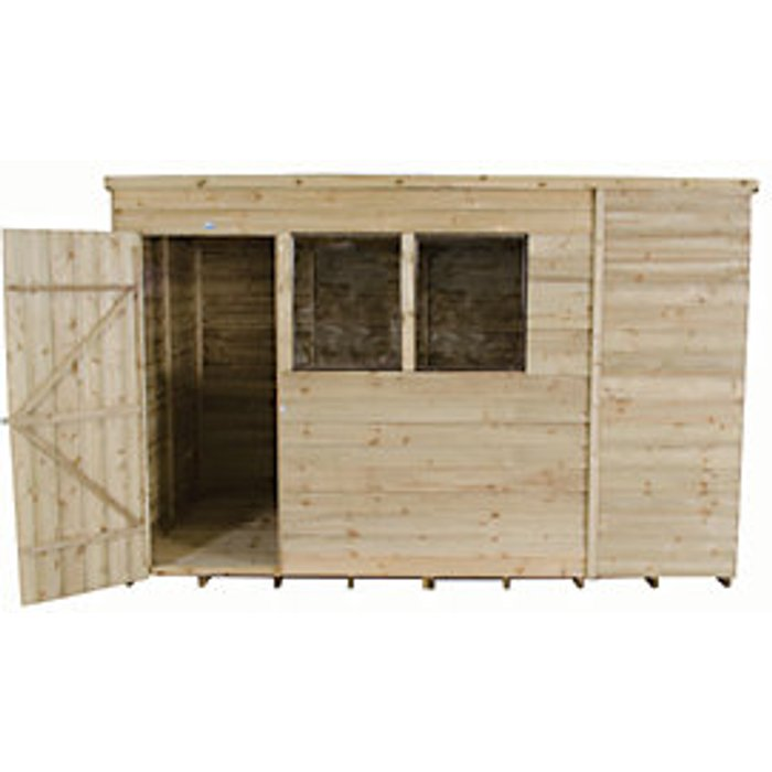 Forest Garden Forest Garden 10 x 6 ft Pent Overlap Pressure Treated Shed