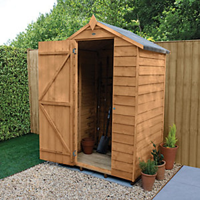 Forest Garden Forest Garden 4 x 3 ft Small Apex Overlap Dip Treated Windowless Shed with Assembly