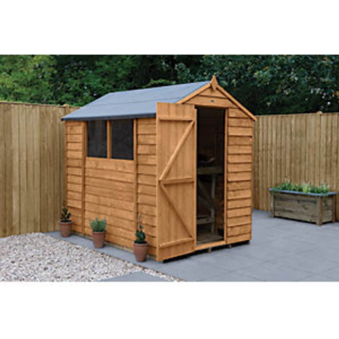 Forest Garden Forest Garden 7 x 5 ft Apex Overlap Dip Treated Shed with Assembly