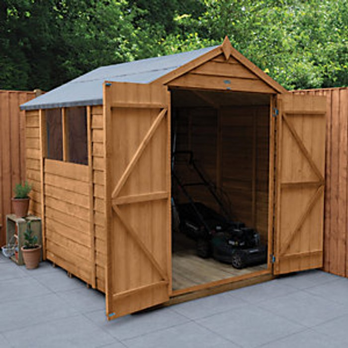 Forest Garden Forest Garden 8 x 6 ft Apex Overlap Dip Treated Double Door Shed with Assembly