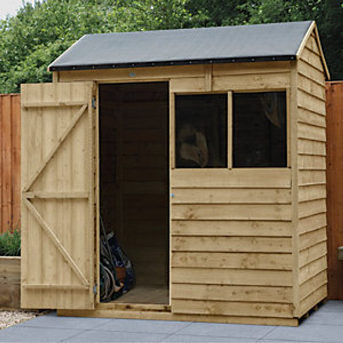 Forest Garden Forest Garden 6 x 4 ft Reverse Apex Overlap Pressure Treated Shed with Assembly