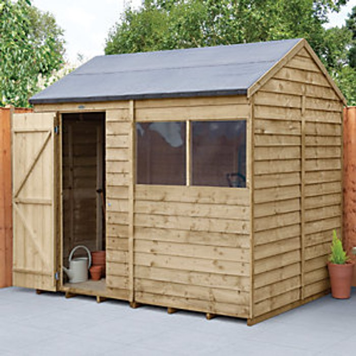 Forest Garden Forest Garden 8 x 6 ft Reverse Apex Overlap Pressure Treated Shed
