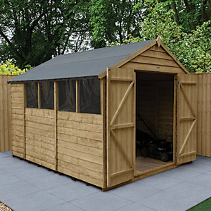 Forest Garden Forest Garden 10 x 8 ft Apex Overlap Pressure Treated Double Door Shed