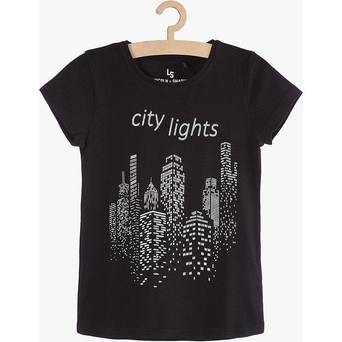 T-shirt dziewczęcy czarny 4I3723