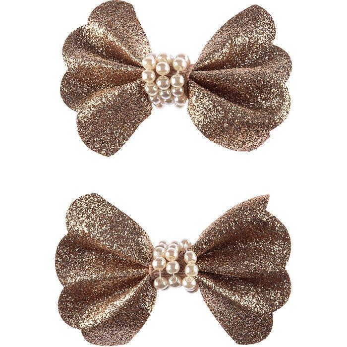 Spinki złote kokardki z perłami 4Y3759