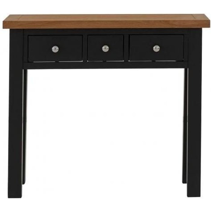 Vancouver Compact 3 Drawer Dressing Table - Oak and Black Grey