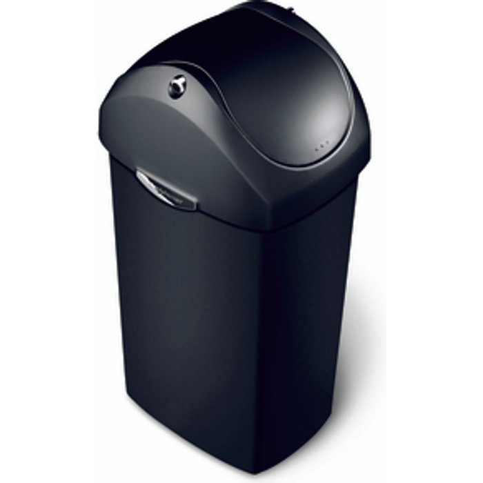 The Range 40 Litre Swing Lid Black Plastic Bin - Black