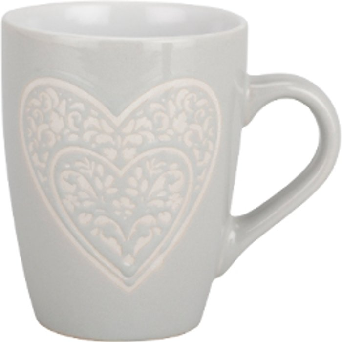 The Range Lace Heart Stoneware Grey Mug
