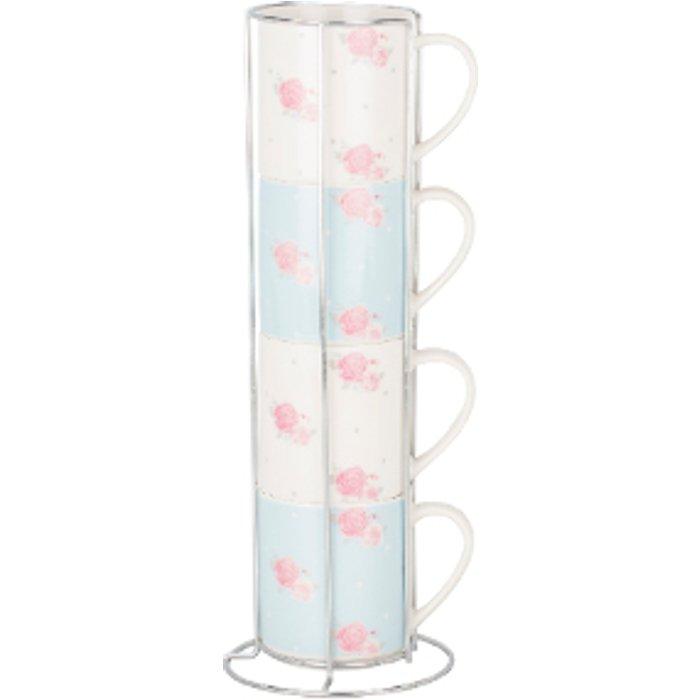 The Range Set of Four Victoria Rose Stacking Mugs