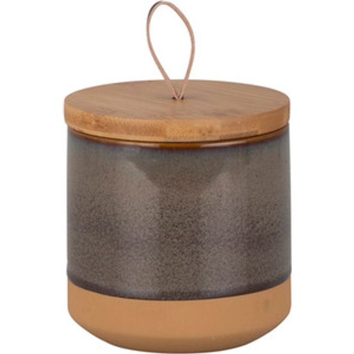 The Range Speckled Terracotta and Bamboo Canister - Dark grey