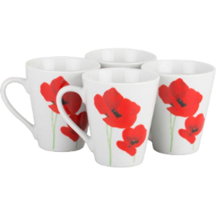 The Range Set of 4 Poppy Garden Porcelain Mugs