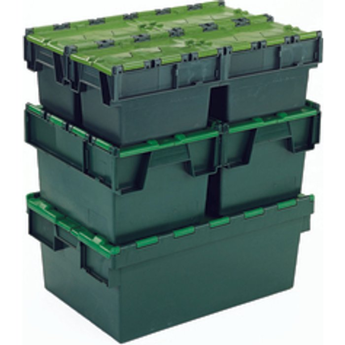 Slingsby Plastic Attached Lid Container 64 Litre - Green