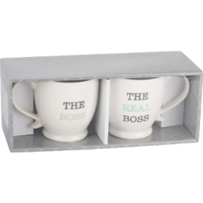 The Range Set of 2 The Boss Footed Mugs