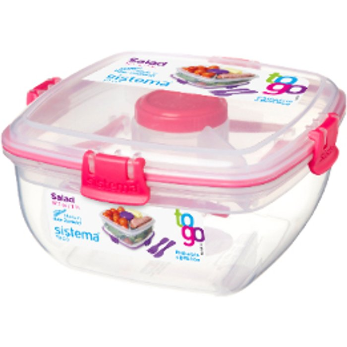 Sistema Salad To Go Container - Pink