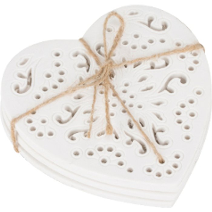 The Range Set of 4 Etched Heart Coasters