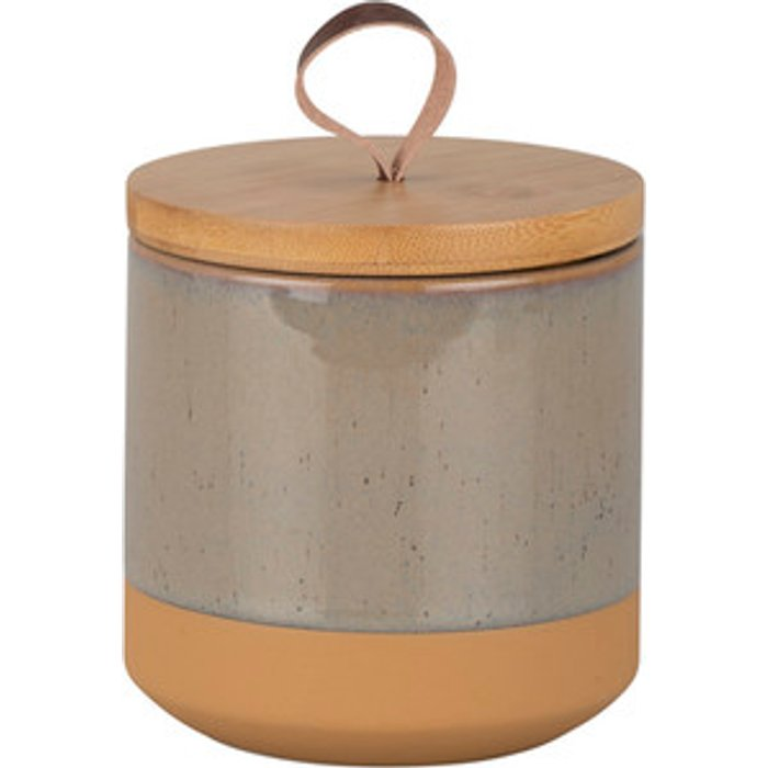 The Range Speckled Terracotta and Bamboo Canister - Light grey