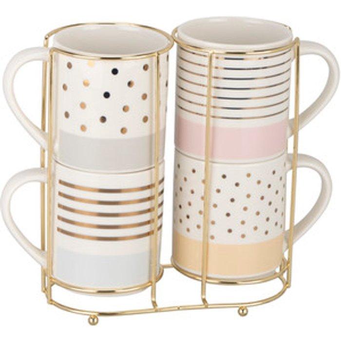The Range Gold Pastels Stacking Mugs