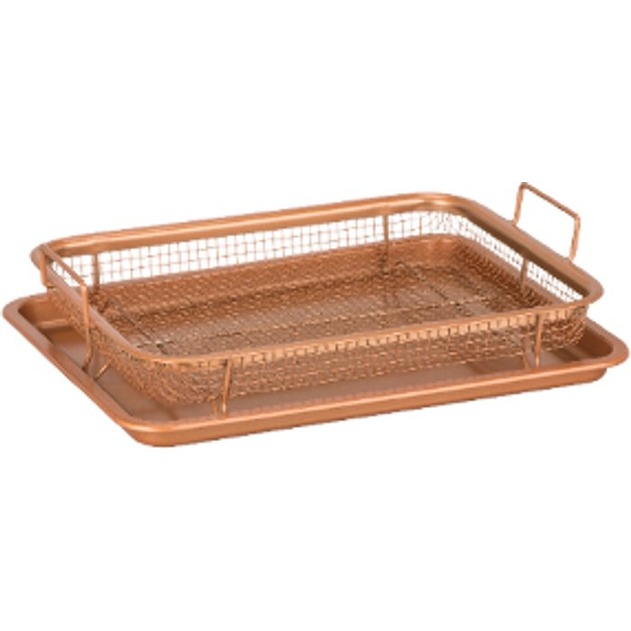 Copper Chef Copper Chef Copper Crisper Non-Stick Oven Baking Tray with Crisping Basket, 2 Piece Set