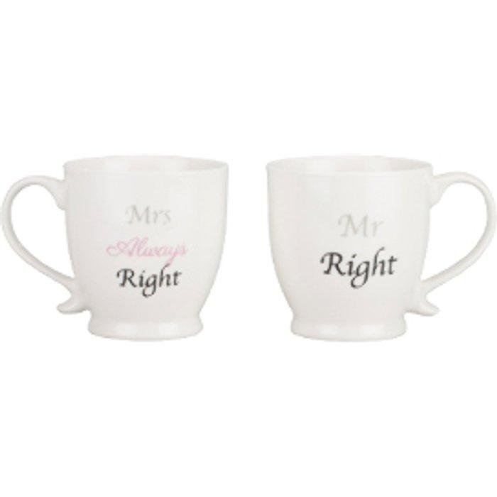 The Range Set of 2 Mr & Mrs Right New Bone China Footed Mugs