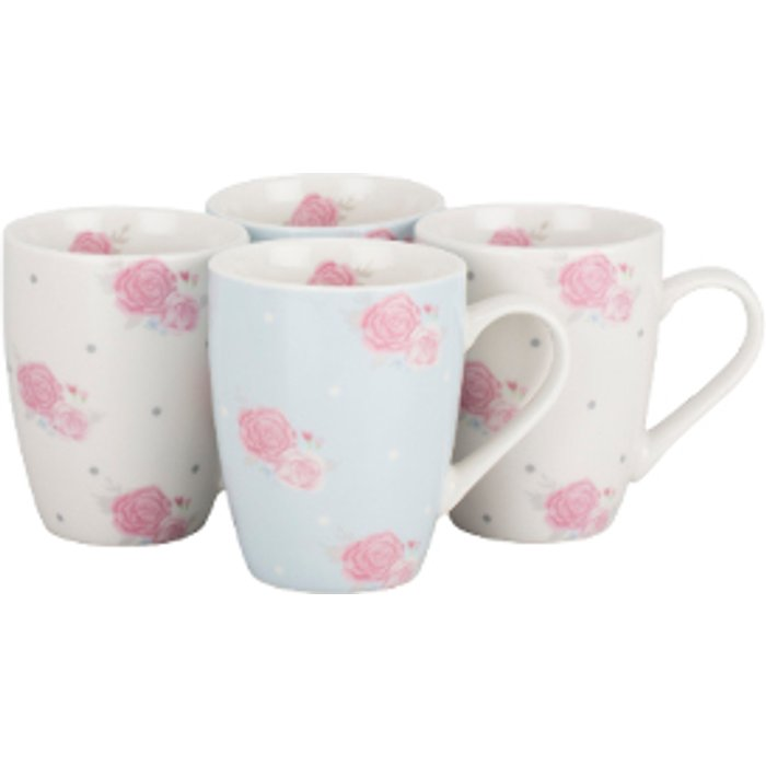 The Range Pack Of Four Victoria Rose Mugs
