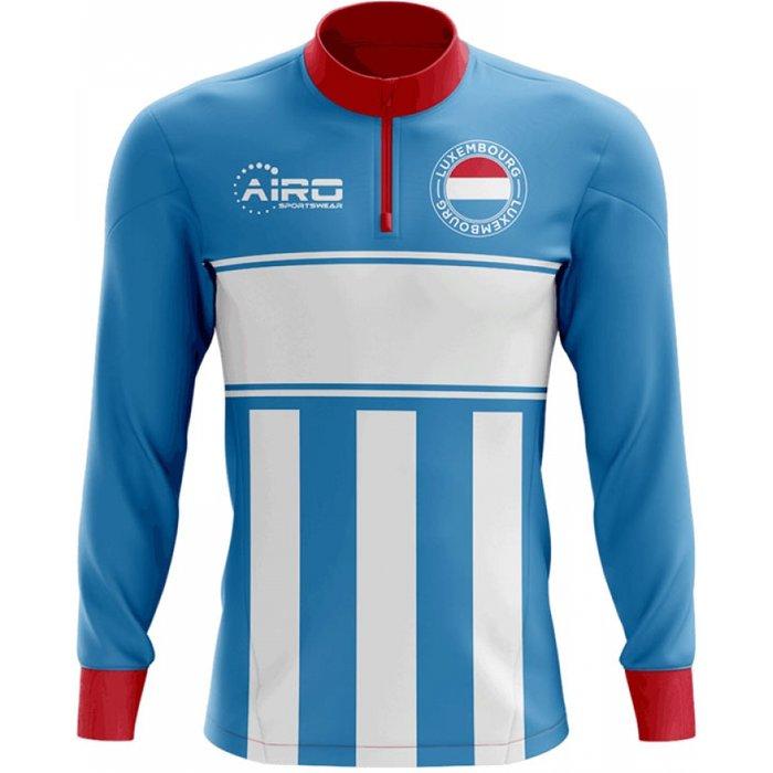 Luxembourg Concept Football Half Zip Midlayer Top (Sky Blue-Red)