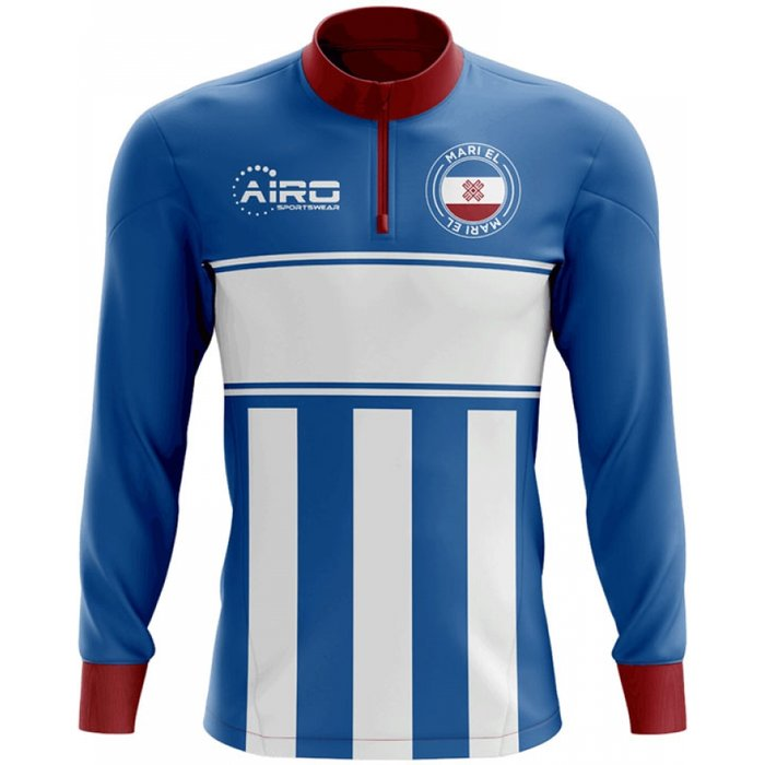 Mari El Concept Football Half Zip Midlayer Top (Blue-White)