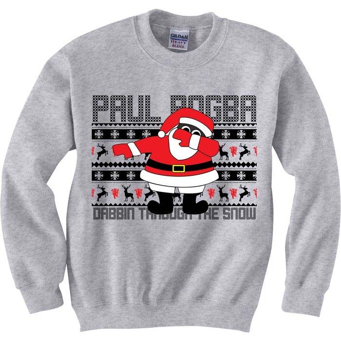UKSoccershop Paul Pogba Christmas Dabbin Jumper Grey