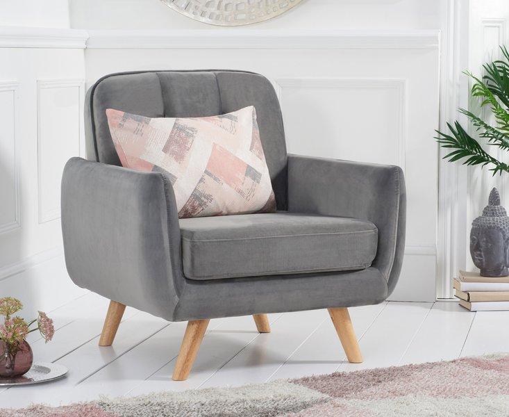 Photo of Coby grey velvet armchair