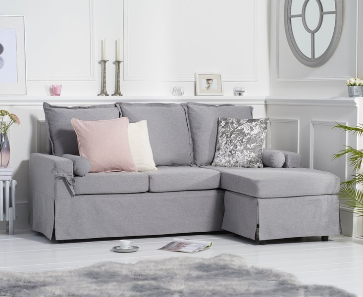 Photo of Clemence grey linen 3 seater reversible chaise sofa