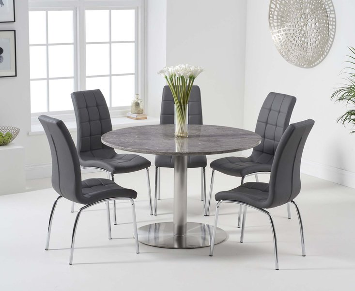 Photo of Baha 120cm round grey marble dining table with calgary chairs