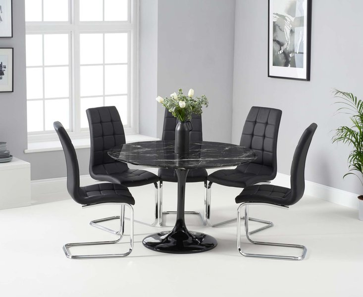 Photo of Bryce 120cm black round marble dining table with lorin chairs