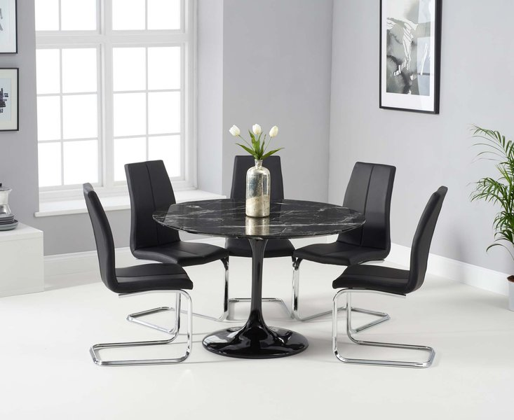 Photo of Bryce 120cm black round marble dining table with tarin chairs