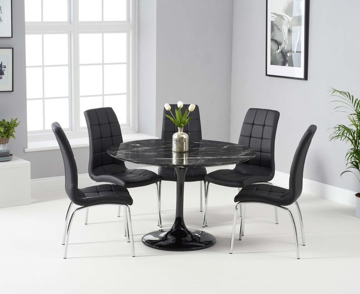 Photo of Bryce 120cm black round marble dining table with calgary chairs