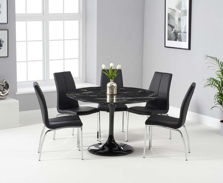 Photo of Bryce 120cm black round marble dining table with cavello chairs