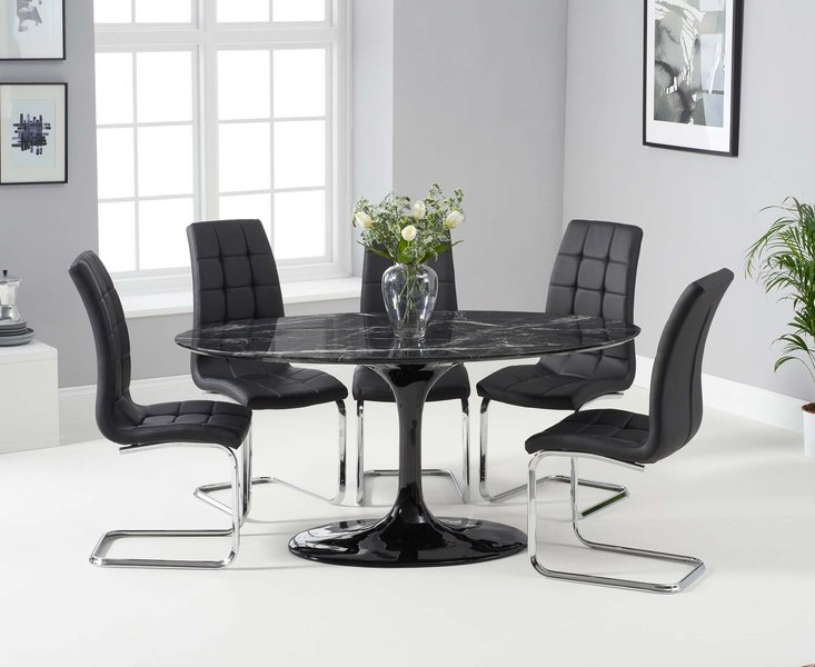 Photo of Bryce 160cm black oval marble dining table with lorin chairs