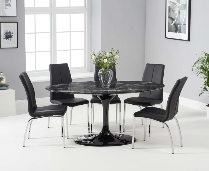 Photo of Bryce 160cm black oval marble dining table with cavello chairs