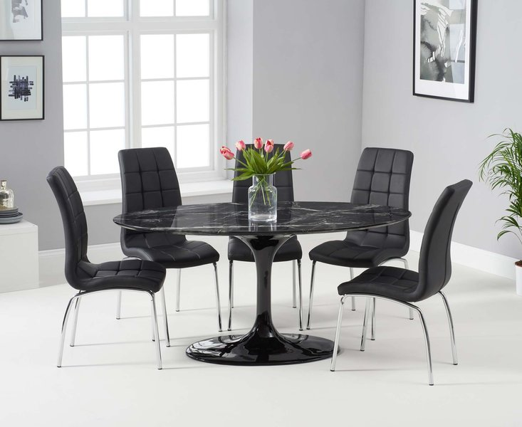 Photo of Bryce 160cm black oval marble dining table with calgary chairs