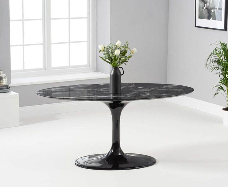 Photo of Bryce 160cm oval black marble dining table