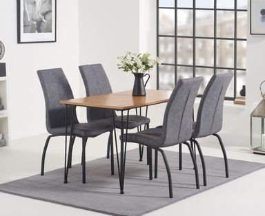Photo of Kalmar 120cm dining table with noir fabric dining chairs