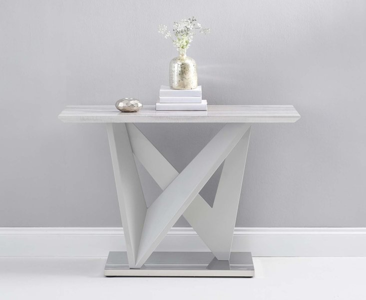 Photo of Rami light grey marble effect carrera console table