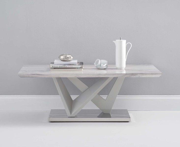 Photo of Rami light grey marble effect carrera coffee table