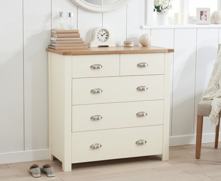 Photo of Somerset oak and cream 2 over 3 drawer chest