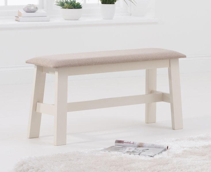 Photo of Chiltern oak and cream bench with fabric seat