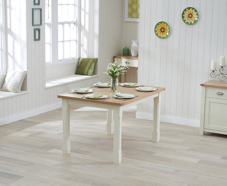 Photo of Somerset 150cm oak and cream dining table