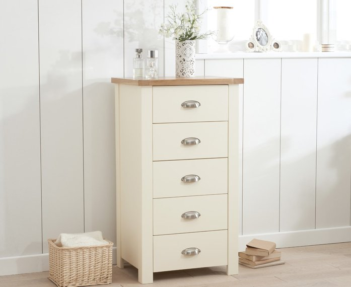 Photo of Somerset oak and cream 5 drawer chest