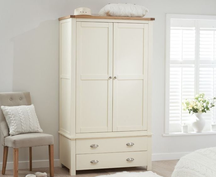 Photo of Somerset oak and cream two door two drawer wardrobe